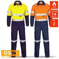 Hi Vis Orange Day Night Flame Fire Retardant Anti-Static Work Safety Coveralls