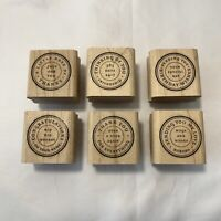 Stampin Up Set of 6 Rubber Stamps Postal Circle Thank You Congrats Birthday 2006