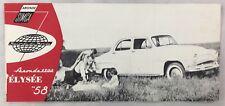 MANUFACTURER ORIGINAL BROCHURE 1958 Aronde SIMCA Cars Elysee Montlhery Deluxe