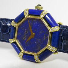 DeLaneau Uhr mit ca. 0,48ct Diamant Lapis Lazuli  in 750/18K Gelbgold Handaufzug