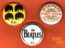 "Set of three 1"" Beatles pins buttons band Sgt. Peppers John Paul Ringo George"