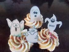 12 Precortada Comestibles Halloween Fantasmas wafer/rice papel cake/cupcake Toppers