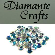 50 x 12mm Clear Iridescent Diamante Loose Flat Back Rhinestone Vajazzle Body Gem
