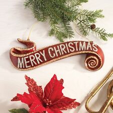 Merry Christmas Banner Ornament Red and Gold rzchtr 3200803 NEW