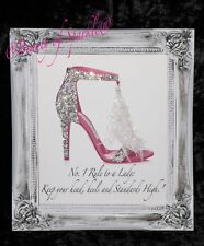 Pink Jimmy Shoes Quote Glitter Crystal Canvas Picture Shabby Chic frame.