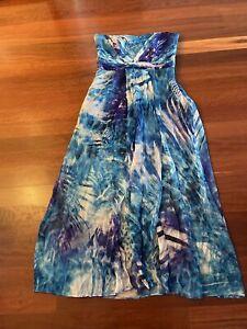 ❤️FOREVER NEW - Blue Silk Strapless Maxi Dress Gown Sz 14 BNWT