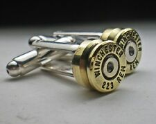 223 Winchester Brass Bullet Head Cufflinks Grooms Groomsmans Cufflinks