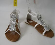 Summer NEW white /stones  WOMEN SHOES ROMAN GLADIATOR  SANDALS   SIZE  6