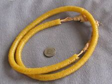 """Rare 28"""" Str Antique African Glass Snake Trade Beads Greasy Yellow 9mm"""