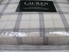 New Ralph Lauren 100% Cotton 4pc Cream Ivory Gray Plaid Checked Sheet Set- Queen