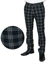 Relco Men's Sta Press Navy Blue Tartan Checked Golfing Stay Pressed Trousers