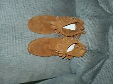 Minnetonka Brown Leather Tier Zip Up Moccasin Ankle Boots Shoes Women's 9