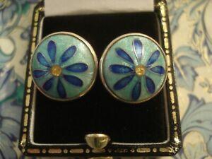 Very Pretty & Fine,Sterling Silver: Iridescent Cloisonne Enamels Flower Earrings
