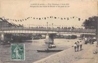 CPA 77 LAGNY FETE NAUTIQUE 5 JUIN 1910 PERSPECTIVE DES BORDS DE MARNE ET DU PONT
