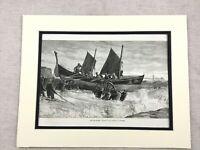1875 Antico Stampa Brighton Lifeboat Rnli Barca Lancio Oceano Mare Vista