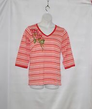 Bob Mackie Floral Embroidered Knit Top Size S Coral