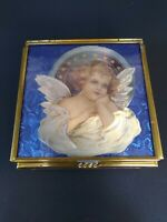 Vintage ENESCO Brass/Mirror/Blue Glass Trinket Box 1993 Thomas Cathey Artwork