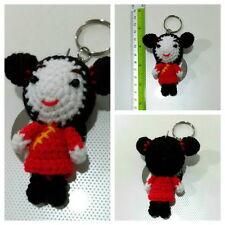 RED CHINA GIRL DOLL KEYCHAINS KEY RING CROCHET DIY HAND CRAFT HAND MADE YARN