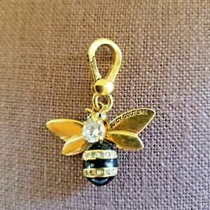 Juicy Couture Queen Bee Charm Gold Tone Black Enamel Crystal