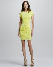 DVF DIANE VON FURSTENBURG Meela Ruched Yellow Dress Silk Blend Sz 8 $275 B20