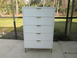 Modern Mid Century Style Solid Wood Chest of 5 Drawers in Gold & White