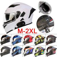 Bluetooth Integrated Modular Flip up Full Face Motorcycle DOT Helmet Dual Visor