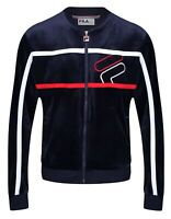 FILA Mens Kacen Velour Full Zip Track Top Baseball Jacket Navy Blue