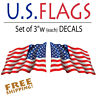 """3"""" Reflective American Flag Waving stickers-Pair of die-cut decal USA US VINYL"""