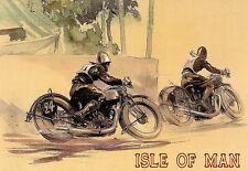 VINTAGE Deco Isle of Man TT MOTO (2) POSTER A3 stampa arte