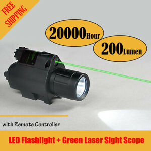 Tactical Led Flashlight Green Laser Sight Scope Rifle Handgun Remote Controller
