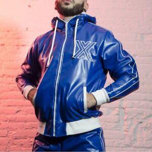 Boxer Berlin/Barcelona Herren Trainingsjacke Jacke Kunstleder Größe M blau neu