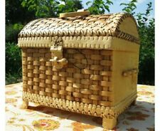 Wicker CHEST natural BIRCH BARK Coffer Casket HANDMADE decor UNIQUE SOUVENIR