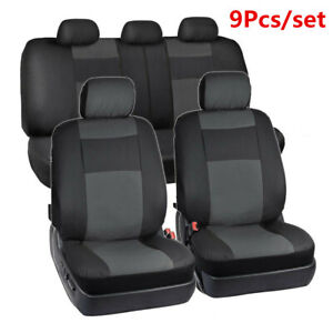 9Pcs Full Seat Car Seat Cover 5-Sits PU Leather Front+Rear Interior Accessories