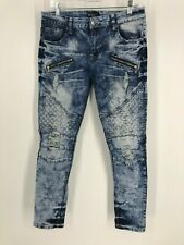 black premium skinny flex mens jeans 34 x 32 zippers stone wash