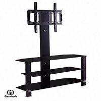 """32""""-55"""" Tempered Glass TV Stand Console Media with Bracket Plasma LCD TV"""