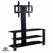 "32""-55"" Tempered Glass TV Stand Plasma Cantilever 3 Levels Shelf Bracket Black"