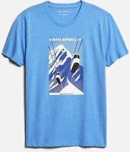 BNEW BANANA REPUBLIC Gondola Graphic Mens T-Shirt, Blue, Medium