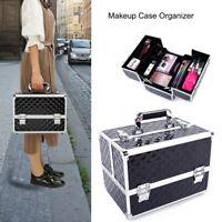 Professional Makeup Cosmetic Case Travel Salon Handle Organizer Bag W/ Key Black