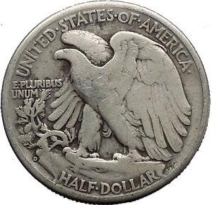 1945 WALKING LIBERTY Half Dollar Bald Eagle United States Silver Coin i45151