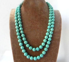 8mm Round Ball Green Blue Turquoise Stone Long Necklace Woman jewelry 36''