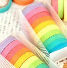 Colors 10x Washi Masking Tape Scrapbook Sticky Paper Decor Adhesive Sticker Set