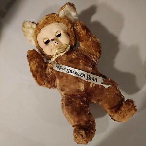 Rare Vintage 50's Swedlin Gund Growler Teddy Bear Rubber Face Blinking Eyes USA