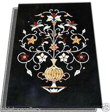 "24""x50"" Italian Black Marble Dining Table Top Marquetry Inlay Arts Decor H2021"
