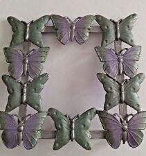 VINTAGE METAL BUTTERFLY PICTURE FRAME GREEN AND PURPLE FOR 3 X 3.25 PHOTO (D1)