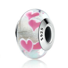 DIY European 925 Sterling Silver PINK WILD HEARTS MURANO CHARM BEAD fit Bracelet