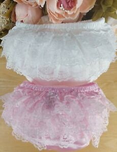 Baby Girl Ivory Pink Satin Lace Frilly Pants Knickers Christening 0-6-12m