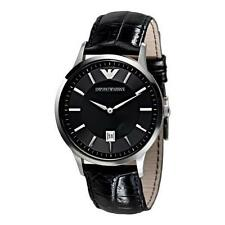 ARMANI MENS CLASSIC WATCH AR2411 BLACK DIAL LEATHER STRAP, COA, RRP £159.00