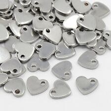 100 x 304 Stainless Steel Heart Stainless Steel Color Charms Pendants 10x9x1.5mm