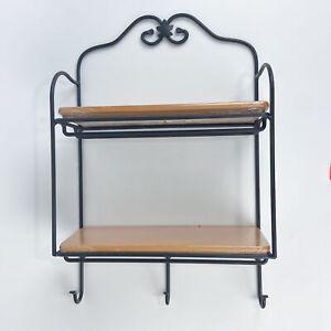 Longaberger Wrought Iron Envelope Rack with 2 Woodcraft Shelves with 3 Hooks ...