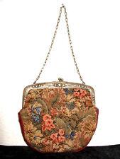 Petit Point Tasche m.Alpacca Silber,gepunzt,Gobelin Abendtasche,Needlework bag